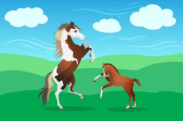 Verf paard merrie met schattig veulen op weiland in de zomer