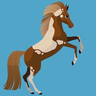 Verf paard. staat op zijn achterpoten. leuk paardkarakter voor de illustraties van kinderen.