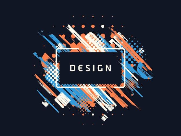 Verf penseel kleurrijke geometrische achtergrond