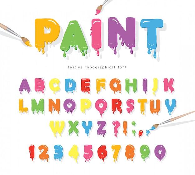 Verf stroomt kleurrijke lettertype.