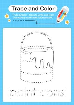 Verfblikken traceren en kleur voorschoolse werkbladtracering voor kinderen voor het oefenen van fijne motoriek