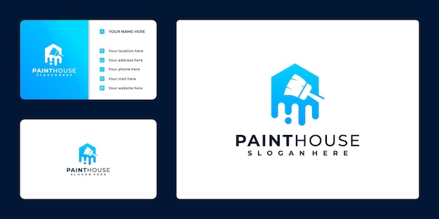 Verfhuislogo, visitekaartjeontwerp, met concept verfemmer en huis,
