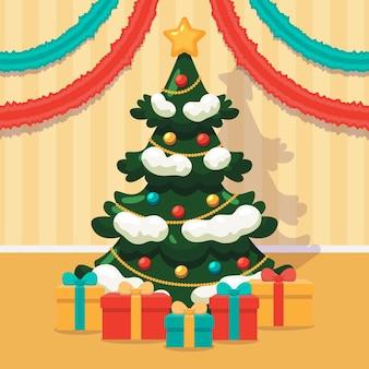 Verfraaide geïllustreerde kerstboom