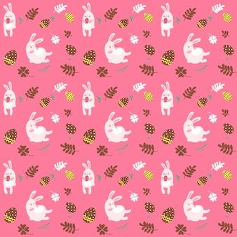 Verfraaide paaseieren en het leuke naadloze patroon van de konijntjesillustratie