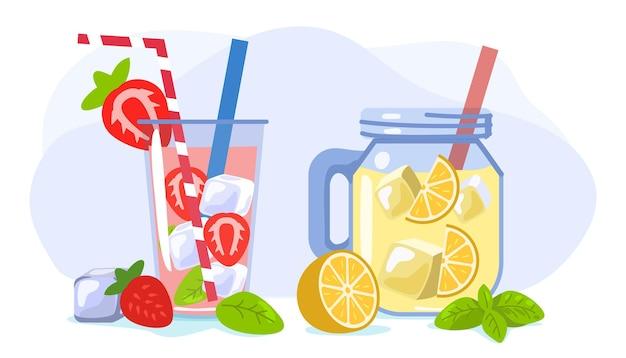Verfrissend drankje met ijs, sinaasappel en aardbei zomer vectorillustratie warme seizoen elementen
