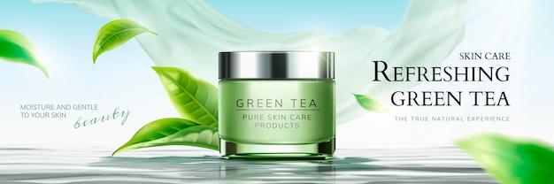 Verfrissende advertenties voor huidverzorging voor groene thee