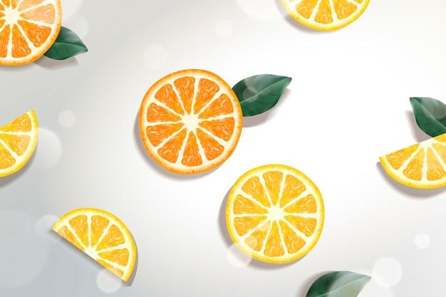 Verfrissende citrus achtergrond met groene bladeren