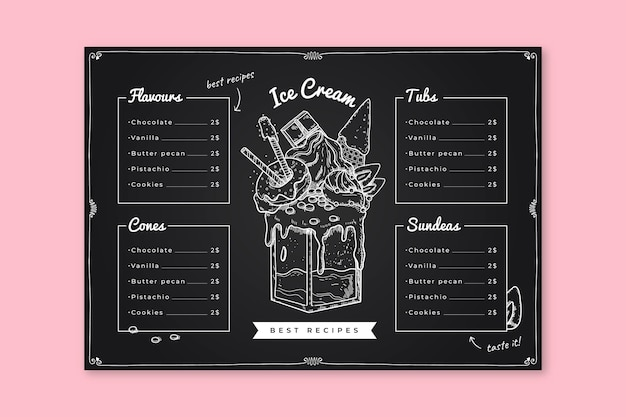 Verfrissende ijs schoolbord menusjabloon