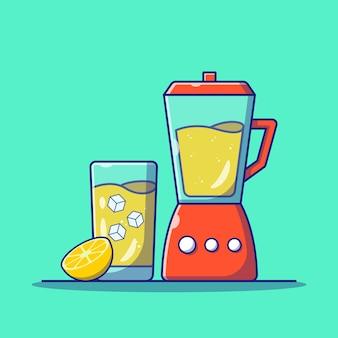 Verfrissende limonade in een glas met schijfje citroen en ijs platte pictogram illustratie geïsoleerd