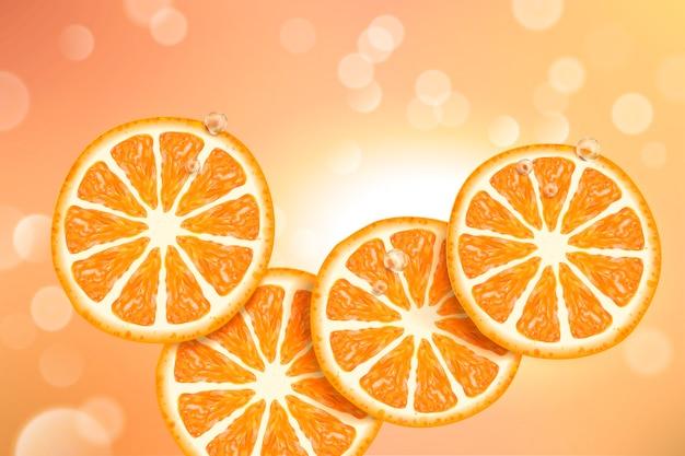 Verfrissende ontwerpelementen van citrussecties met gloeiende bokeh-vlekken