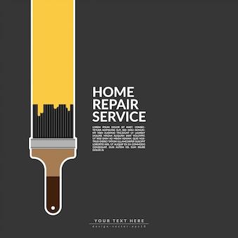 Verfroller verf gele kleur over huis logo