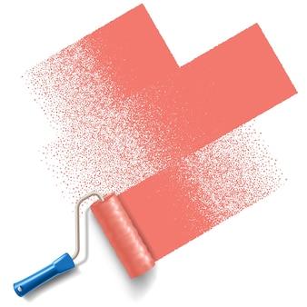 Verfrollerborstel met rode verfspoor geïsoleerd op een witte achtergrond. toepasbaar voor banners en labels. .