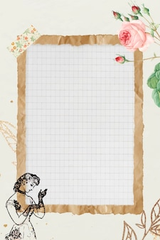 Verfrommeld bruin papieren frame met rasterachtergrond
