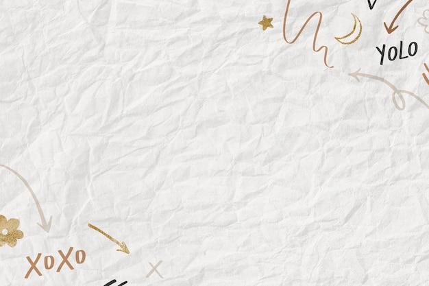 Verfrommeld papier getextureerde achtergrond met schattig doodle patroon