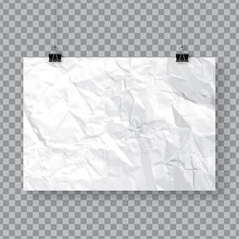 Verfrommeld papier poster sjabloon opknoping met clips