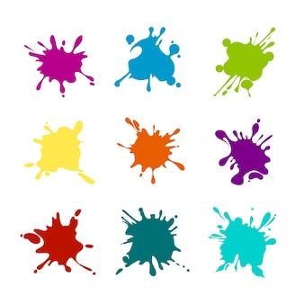 Verfspatten van verschillende kleuren. verf spatten, beits en vlek, klodder verschillende kleuren.