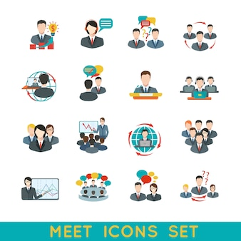 Vergadering avatar en icon set flat