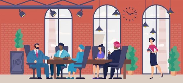 Vergadering in bedrijf kantoor platte vector concept