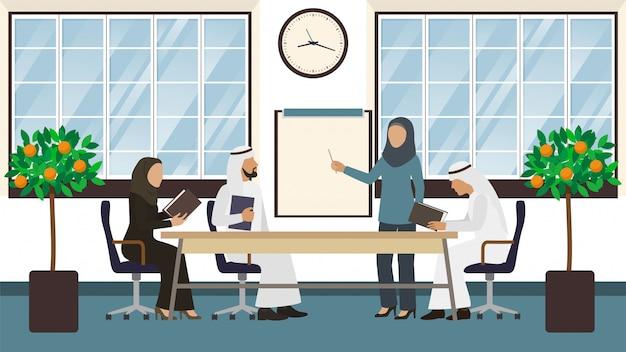 Vergadering van arabische zakenlieden, groep mensen bespreken overeenkomst illustratie.