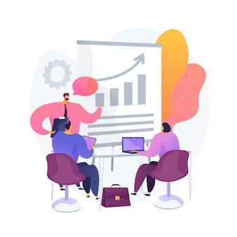 Vergadering van managers. zakelijk mentorschap, arbeidersconferentie, discussie over bedrijfsstrategie. mentor die medewerkers onderwijst. teamwork en samenwerking.