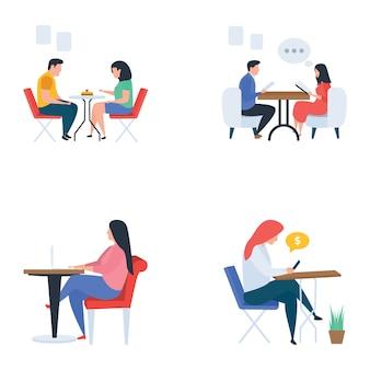 Vergaderingen en verfrissingen flat set