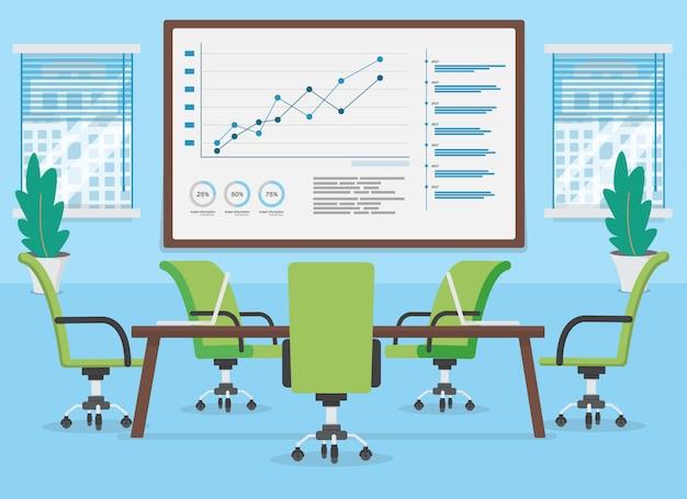 Vergaderzaal lege stoel en computer op de tafel en informatie grafiek op de muur