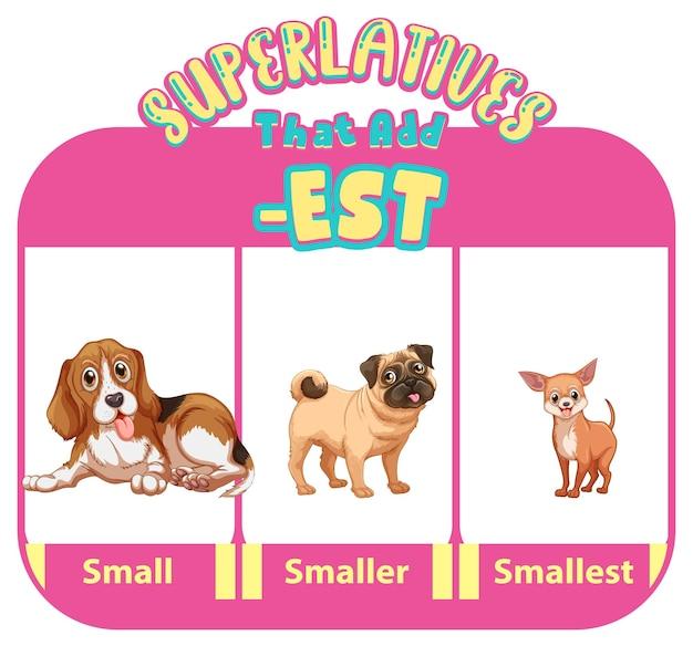 Vergelijkende en overtreffende trap bijvoeglijke naamwoorden voor woord klein