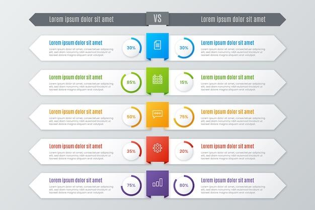 Vergelijking grafieksjabloon voor infographic