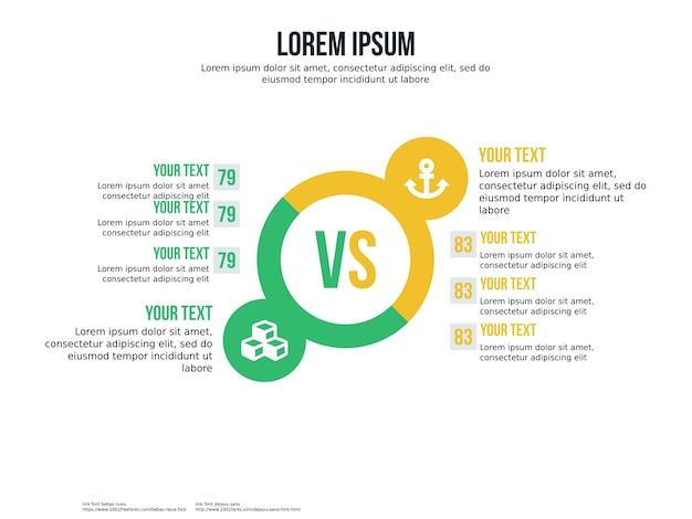 Vergelijking infographic element en presentatiesjabloon