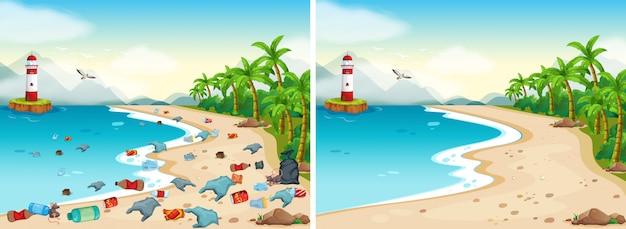 Vergelijking van dirty and clean beach