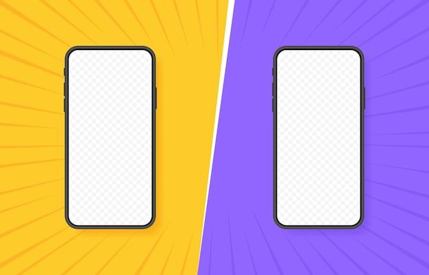 Vergelijking van twee verschillende smartphones. vs twee kleuren retro
