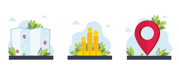 Vergoedingen en financiering, kaarten, routebeschrijving metaforen.destination,wealth.gps-navigatieservicetoepassing. zakelijke investeringen en geldbesparingen cliparts set. vector geïsoleerde concept metafoor illustraties.