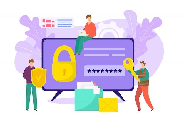 Vergrendel de beveiliging met een wachtwoordsleutel in de computer, webinternetbeveiliging voor illustratie van informatieveiligheid. online gegevens beveiligd technologieconcept, digitale netwerksysteemtoegang.