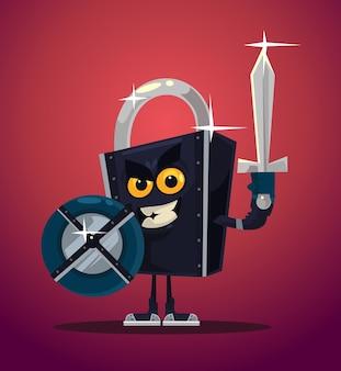 Vergrendel het karakter van de beveiligingsstrijder.