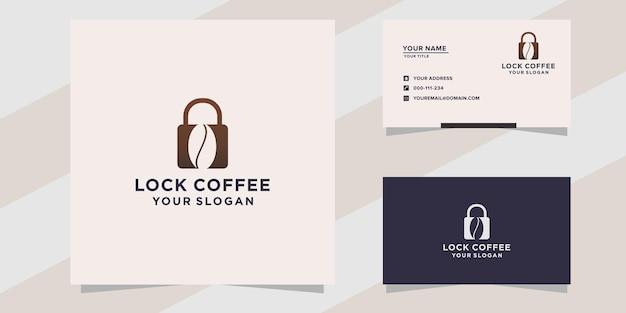 Vergrendel koffie logo sjabloon