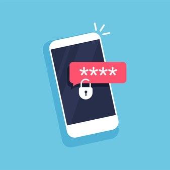 Vergrendeld phoneicon bestandsbeveiliging wachtwoord invoeren gegevensbeveiliging en privacyconcept