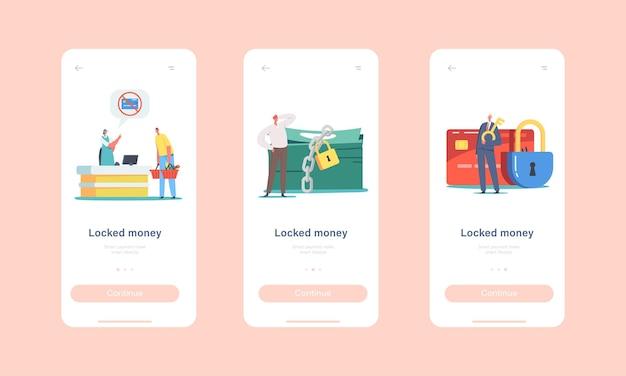 Vergrendelde mobiele app-pagina aan boord van schermsjabloon. kleine karakters bij enorme geblokkeerde kaart en slot op geldstapel. betalingsblokkering tijdens het winkelen, bank ban concept. cartoon mensen vectorillustratie