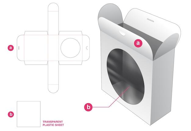 Vergrendelde puntflip-verpakkingsdoos en cirkelvormig venster met doorzichtig gestanst sjabloon van plastic vel Premium Vector