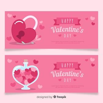 Vergrendelen en drankje valentijn banner