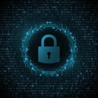 Vergrendelingspictogram in frame van printplaat van de computer met gloeiende binaire code achtergrond. systeembeveiliging en bescherming tegen hackers. programmering ontwerp.