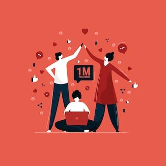 Vergroot volgers en invloeden op sociale media