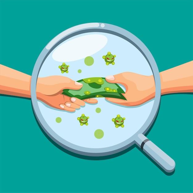 Vergrootglas detectie geld met bacteriën geïnfecteerde viruspreventie cartoon afbeelding