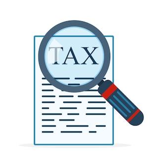 Vergrootglas en belastingformulier. illustratie