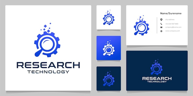 Vergrootglas en gear tech logo-ontwerp met visitekaartje