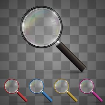 Vergrootglas kunst kleur instellen op een transparante achtergrond. vector illustratie