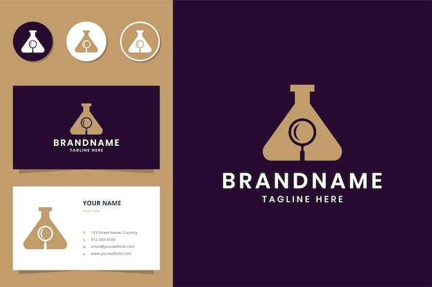 Vergrootglas lab negatieve ruimte logo ontwerp