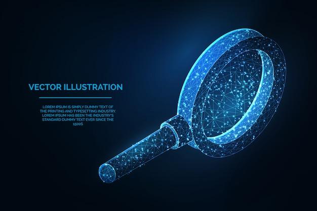 Vergrootglas lage veelhoekige blauwe draadframe illustratie
