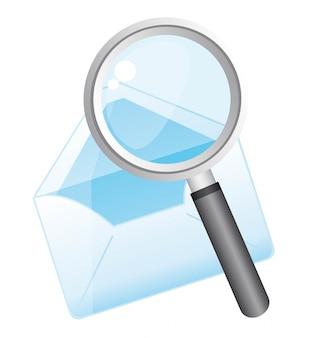 Vergrootglas met envelop over witte achtergrond vector
