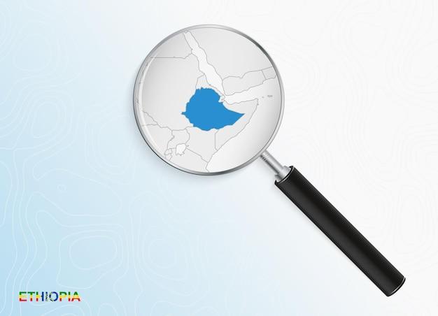 Vergrootglas met kaart van ethiopië op abstracte topografische achtergrond.