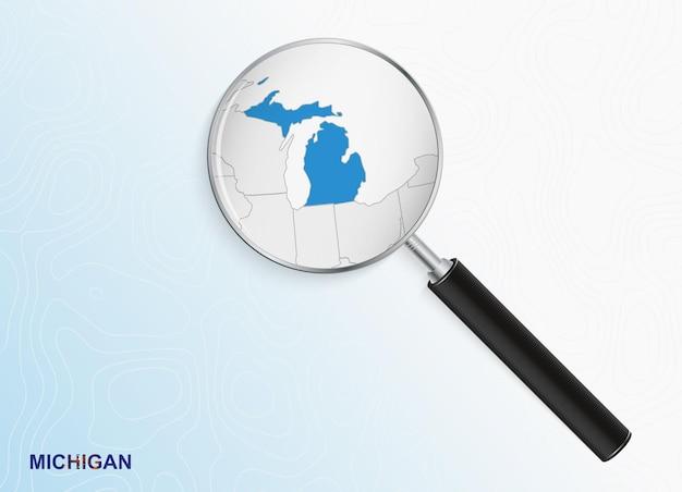 Vergrootglas met kaart van michigan op abstracte topografische achtergrond.